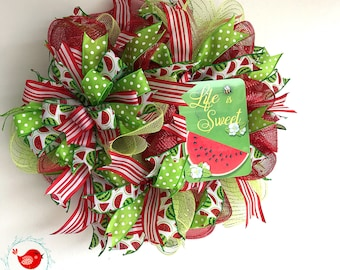 Watermelon Wreath, Watermelon Deco Wreath, Watermelon Door Decor, Red Watermelon Wreath, Spring Wreath, Summer Wreath, Small Wreath,