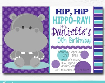 "Diy Personalized Hippo ""Hip, Hip, Hippo-Ray"" Animal Birthday Party Digital Printable 4""x6"" or 5""x7"" Invitation"
