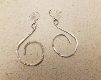 """2"""" x 1"""" hammered sterling silver dangle earrings"""