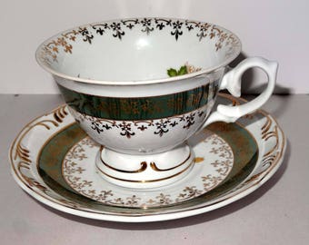 Leart Brazil Fleur de Lis Gold Leaf Pink Roses Tea Cup Saucer Home and Garden Kitchen and Dining Tableware Drinkware Coffee and Tea Cups