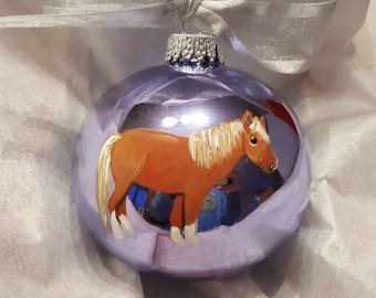 Miniature Horse Pony Palomino Hand Painted Christmas Ornament - Can Be Personalized with Name