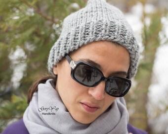 Women winter light gray hat wool hat hand knit, Ready to ship