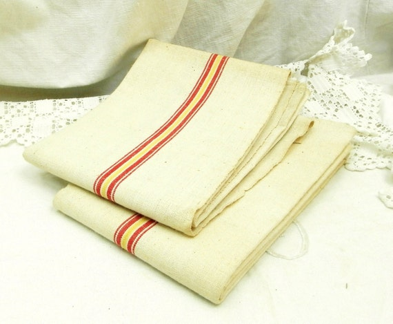 Large Unused Vintage French Linen Tea Towel Woven Red and Yellow Stripes, Rustic Retro Country Kitchen Decor, Brocante Items from France