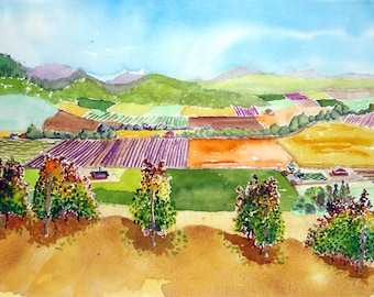 Art de la vigne, California art, art du paysage Original, art mural de vignoble, Art Sale, aquarelle, vignoble Wall art decor, Watercoluor