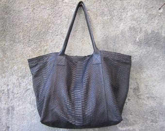 Black Python Leather Tote Bag, Soft Women Leather Tote Black, Slouchy Leather Shopper Bag