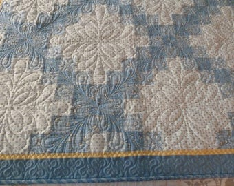 Child, Crib, Baby, Toddler Quilt, Blue and White, handmade, with Flannel Back FREE SHIPPING