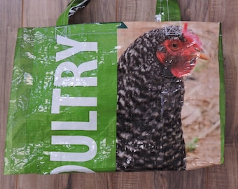 Recycled Repurposed feed bag tote