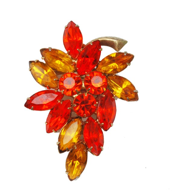 Rhinestone brooch -Ornage and Yellow Crystal - Gold metal, - mid century floral pin