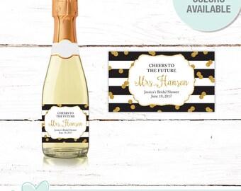 Gold Glitter and Black Stripes Bridal Shower Mini Champagne Labels, Bachelorette Party, Favors, Decor, Stickers, Lingerie Shower, 9G