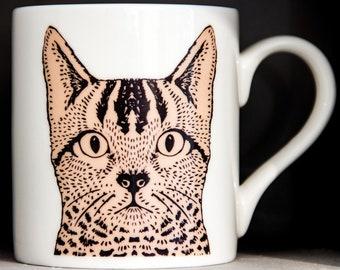 Illustrated Cat China Mug
