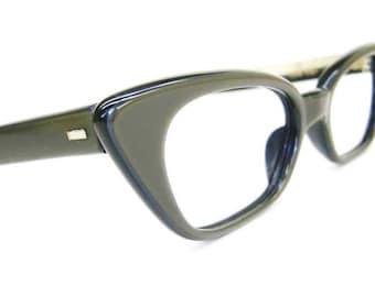 Vintage Olive Cat Eye Glasses or Sunglasses Frame Safilo NOS