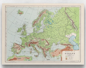 Physical map of Europe print (1908)