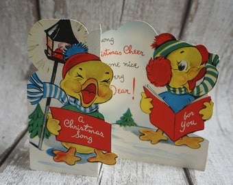A Christmas Song   Christmas Card Totally Unique One of a Kind -Used 2 Ducks singing Carols in the Snow Wearing Hats and Scarf