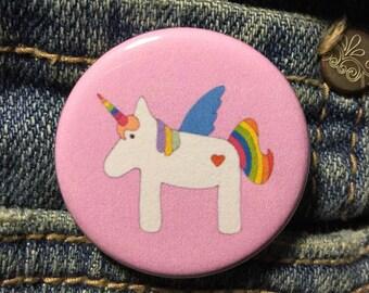 Rainbow unicorn button / Unicorn pin / Cute button pin / Quirky button / Pastel pin