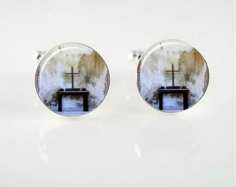 Old Wooden Cross Cuff Links or Tie Clip