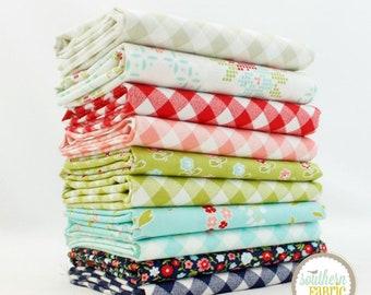 """Vintage Picnic - Fat Quarter  Bundle - 10 - 18""""x21"""" Cuts - Bonnie and Camille - Moda Quilt Fabric"""