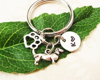 DACHSHUND DOXIE DOG & paw with initial charm - Choose keyring, clasp or heart keyring - One flat rate shipping in my shop :)