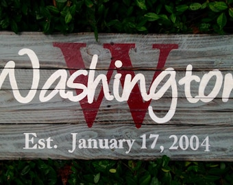 Wood Sign, Reclaimed Wood Sign, Personalized Name/Established Art