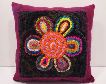 """12"""" x 12"""" hand hooked pillow"""