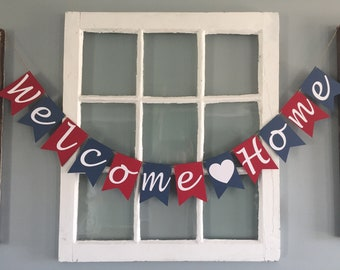 Welcome Home Banner, Patriotic, Red White & Blue