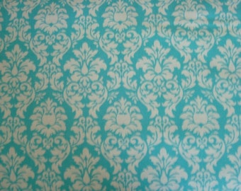 Aqua Petite Dandy Damask Fabric by Michael Miller - 1 Yard