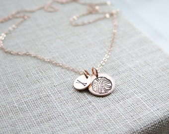 Knitting Necklace with Smaller Disc - Ball of Yarn - Hand Stamped Jewelry - Sterling Silver, 14k Gold Fill, or Rose Gold Fill