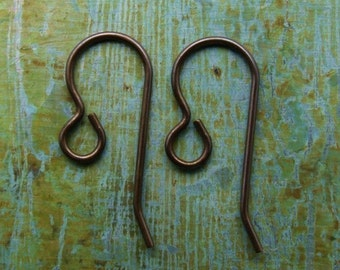 French Hook Earwires - Solid Brass Hand Antiqued - Patina Queen - 12 PAIRS
