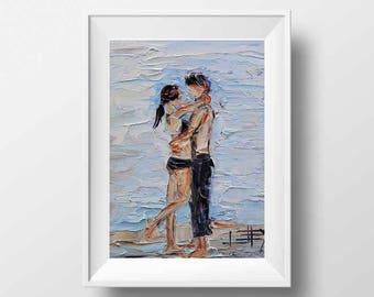 Beach Art, Romantic Couple, Love Print, Romance Print, Couple on the Beach, Beach Print, Kiss, Embrace, Palette Knife, Love Print, Love