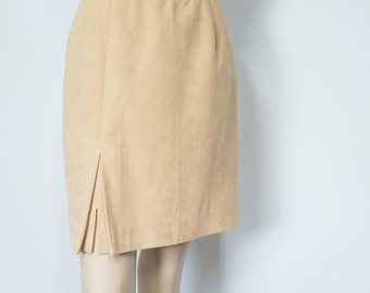 Vintage Skirt 1980's Skirt Mini Skirt Pencil Skirt Camel Color Preppy High Waisted Ultrasuede 26 Inch Waist