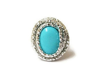 TURQUOISE Blue Silver Gemstone Ring, Turquoise Blue Ring, Turquoise Gemstone Ring, Turquoise Jewelry, Turquoise Birthstone Ring, Adjustable