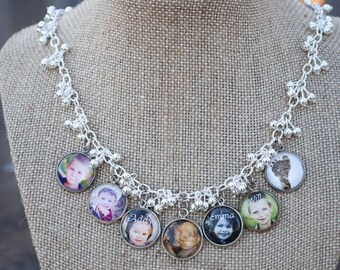 Photo Charm Necklace, Photo Keepsake Gift for Grandmas, Grandchildren Photo Necklace, Mother's Photo Charm Necklace, Memory Keepsake Charms