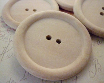 Wooden Buttons, JUMBO Size Round Wood Buttons, PACK OF 50 - 45mm