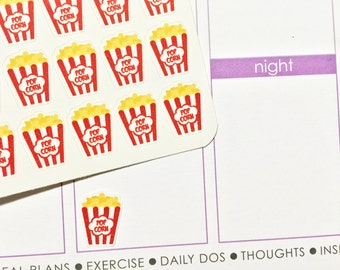 36 Popcorn / Movie Night Stickers! Perfect for your Erin Condren Life Planner, Filofax, Plum Paper & other planner or scrapbooking!