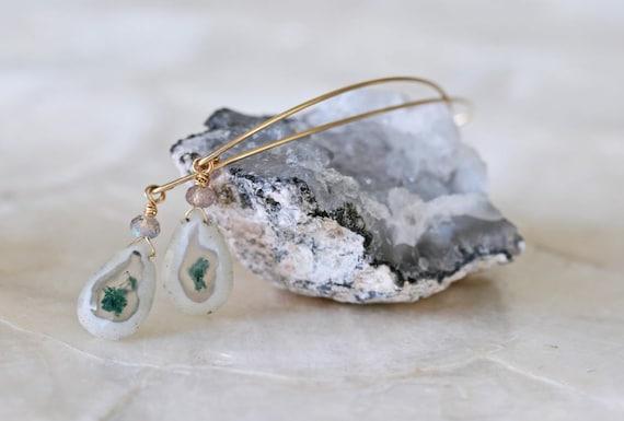 Solar Quartz Open Hoop Earrings in 14k Gold Filled or Sterling Silver