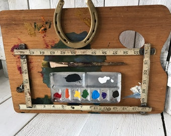 Vintage artist palette assemblage wall decor art supplies tools horseshoe / free shipping US