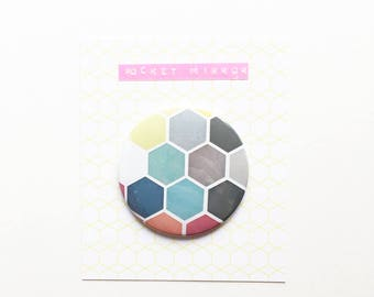 Modern Geometric Pattern Pocket Mirror 76mm / 3 inches - Honeycomb II