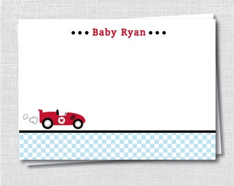 Vintage Race Car Boy Baby Shower Custom Notecard - Race Car Baby Shower Thank You - Digital Design or Printed Notecards - FREE SHIPPING