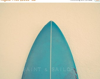 FLASH SALE til MIDNIGHT Turquoise Surfboard Tip, Surf Decor,  beach photos, , yellow, turquoise, sunset, retro, vintage surf home decor, boy