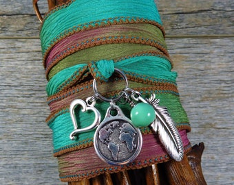 Silk Wrap Bracelet - Yoga Jewelry - Boho Wrap Bracelet - Wrap Bracelet - Gypsy Bracelet - The world needs more love - Meditation Jewelry