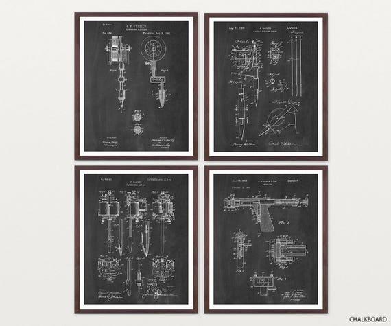 Tattoo Art - Tattoo Patent Poster - Tattoo Poster - Tattoo Shop - Tattoo Gun - Tattoo Gun Patent - Tattoo Gun Art - Tat - Body Art - Ink