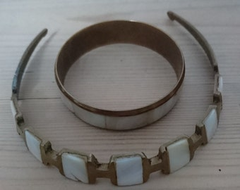 Vintage brass mother of pearl inlaid bangle and choker