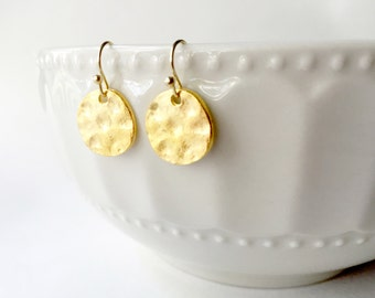 Hammered Gold Drop Earring, Hammered Circle Earring, Gold Drop Earring, Sparkle Earring, Gold Earring