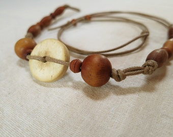 Natural earthy wooden bead bracelet