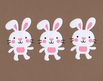 21 White Bunny Die Cut Embellishments