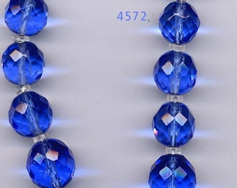 Vintage 1930s Blue Faceted Crystal Bead Necklace   Item: 4572