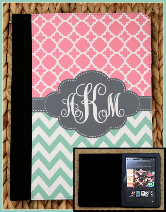 "Kindle Fire Case Kindle 7"" Case Kindle HD Case Nook Color Case Notebook Folio Case Monogrammed Personalized Custom Electronic Accessories"