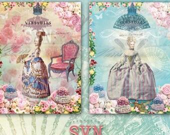 Shabby Chic - Marie Antoinette - Digital Collage Sheet Printable download digital image vintage scrapbooking