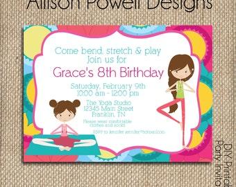 Yoga Birthday Party Invitation - Print your own -Girls Custom Invitation Bright Colors