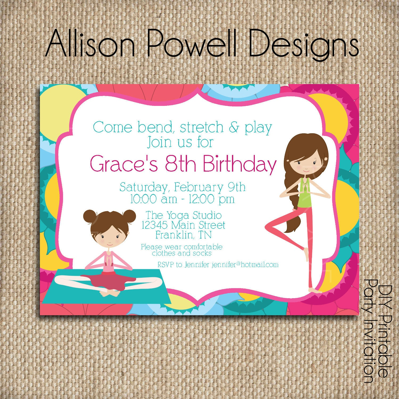 Yoga Birthday Party Invitation Print your own Girls Custom