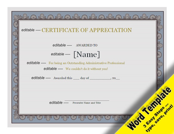 Certificate of appreciation editable word template certificate of appreciation editable word template printable instant download you edit word template diy certificate template awards yelopaper Gallery